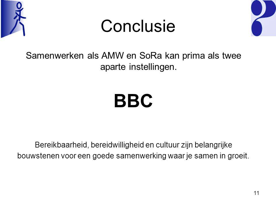 Conclusie Samenwerken als AMW en SoRa kan prima als twee aparte instellingen.