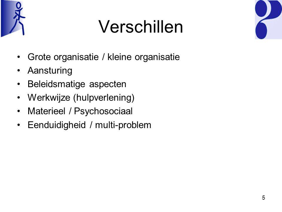 Verschillen Grote organisatie / kleine organisatie Aansturing Beleidsmatige aspecten Werkwijze (hulpverlening) Materieel / Psychosociaal Eenduidigheid / multi-problem 5