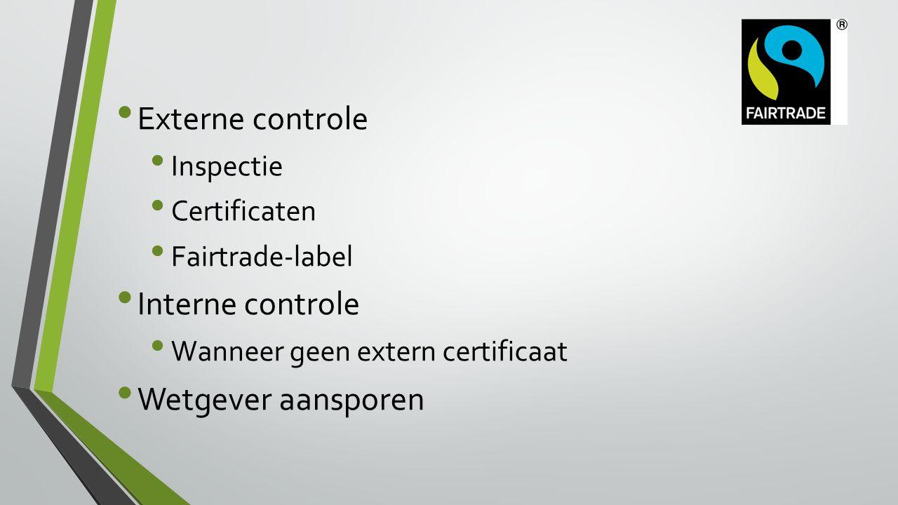 Externe controle Inspectie Certificaten Fairtrade-label Interne controle Wanneer geen extern certificaat Wetgever aansporen