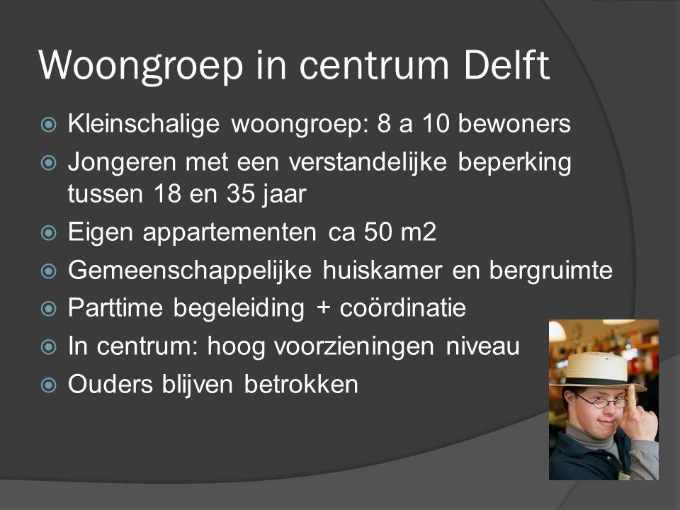 Woongroep in centrum Delft  Kleinschalige woongroep: 8 a 10 bewoners  Jongeren met een verstandelijke beperking tussen 18 en 35 jaar  Eigen apparte