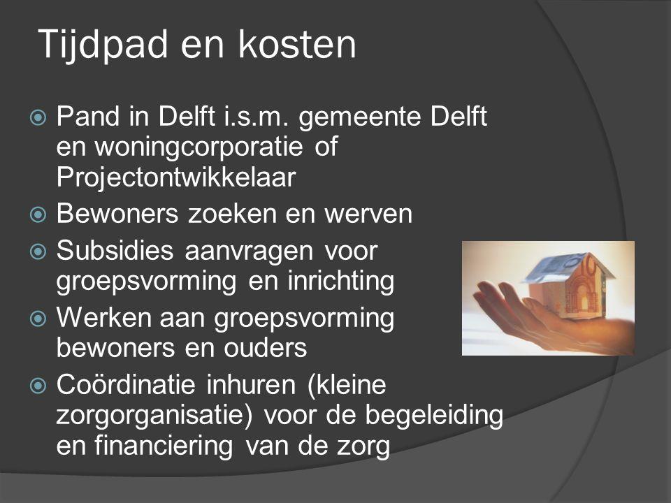 Tijdpad en kosten  Pand in Delft i.s.m. gemeente Delft en woningcorporatie of Projectontwikkelaar  Bewoners zoeken en werven  Subsidies aanvragen v