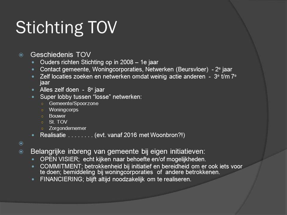 Stichting TOV  Geschiedenis TOV Ouders richten Stichting op in 2008 – 1e jaar Contact gemeente, Woningcorporaties, Netwerken (Beursvloer) - 2 e jaar
