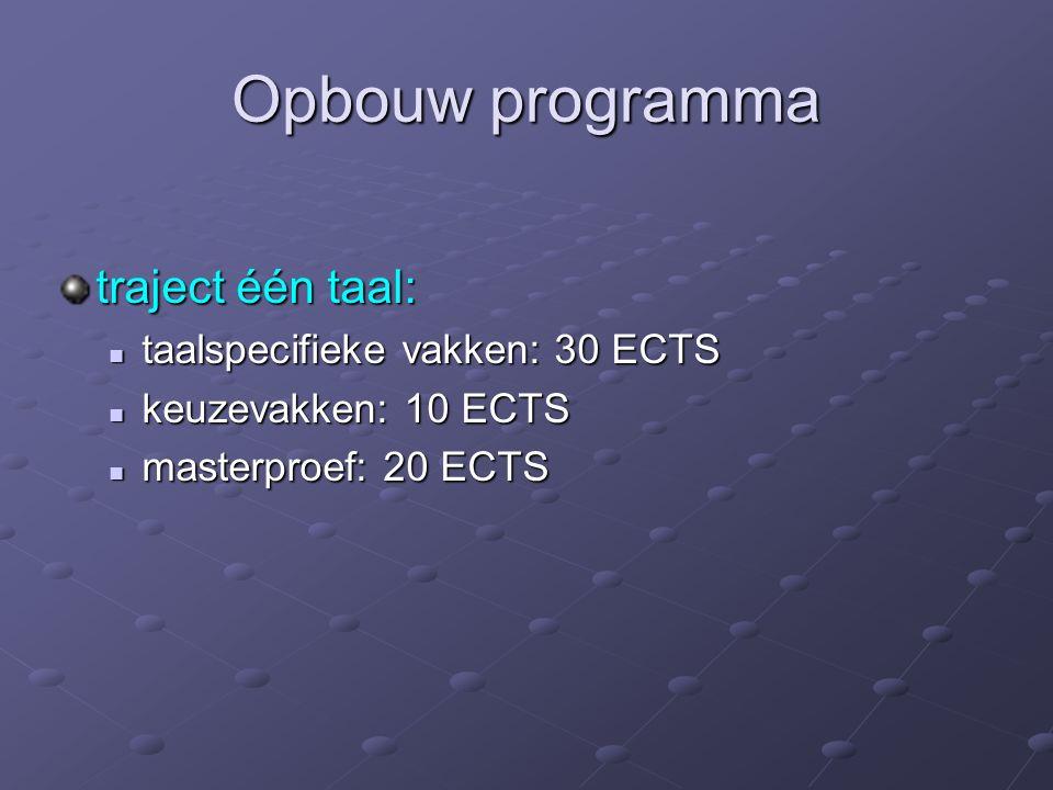 Opbouw programma traject één taal: taalspecifieke vakken: 30 ECTS keuzevakken: 10 ECTS masterproef: 20 ECTS