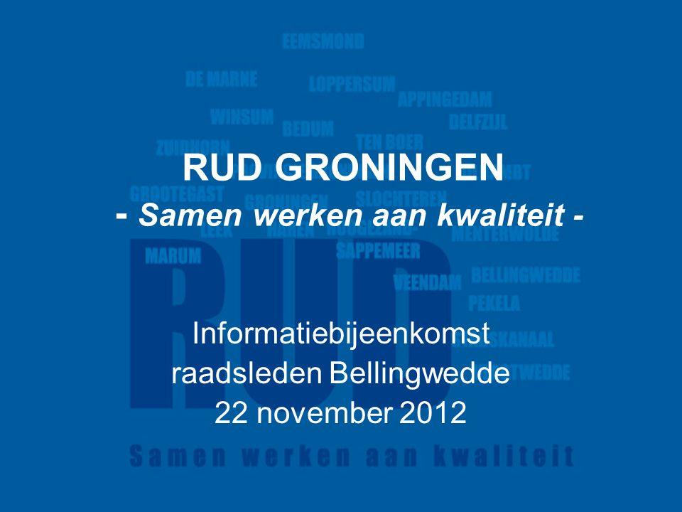 RUD GRONINGEN - Samen werken aan kwaliteit - Informatiebijeenkomst raadsleden Bellingwedde 22 november 2012