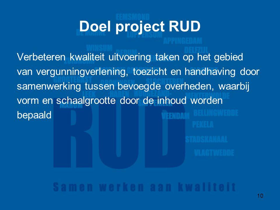 10 Doel project RUD Verbeteren kwaliteit uitvoering taken op het gebied van vergunningverlening, toezicht en handhaving door samenwerking tussen bevoegde overheden, waarbij vorm en schaalgrootte door de inhoud worden bepaald
