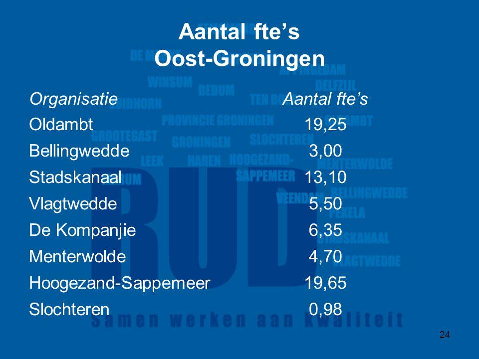 24 Aantal fte's Oost-Groningen OrganisatieAantal fte's Oldambt19,25 Bellingwedde3,00 Stadskanaal13,10 Vlagtwedde5,50 De Kompanjie6,35 Menterwolde4,70 Hoogezand-Sappemeer19,65 Slochteren0,98