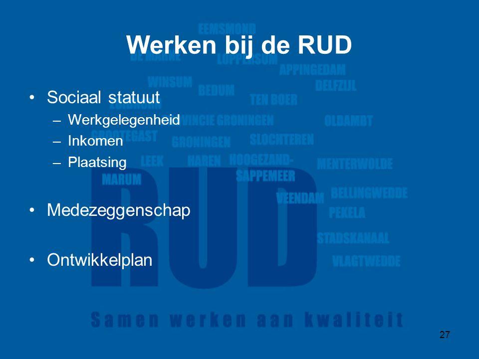 27 Werken bij de RUD Sociaal statuut –Werkgelegenheid –Inkomen –Plaatsing Medezeggenschap Ontwikkelplan