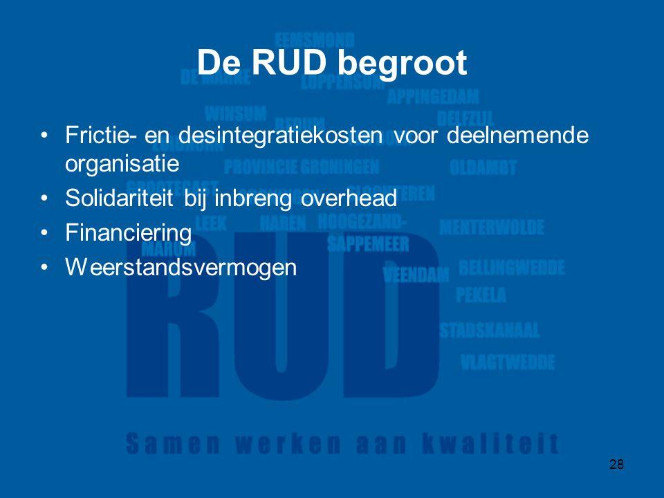 28 De RUD begroot Frictie- en desintegratiekosten voor deelnemende organisatie Solidariteit bij inbreng overhead Financiering Weerstandsvermogen