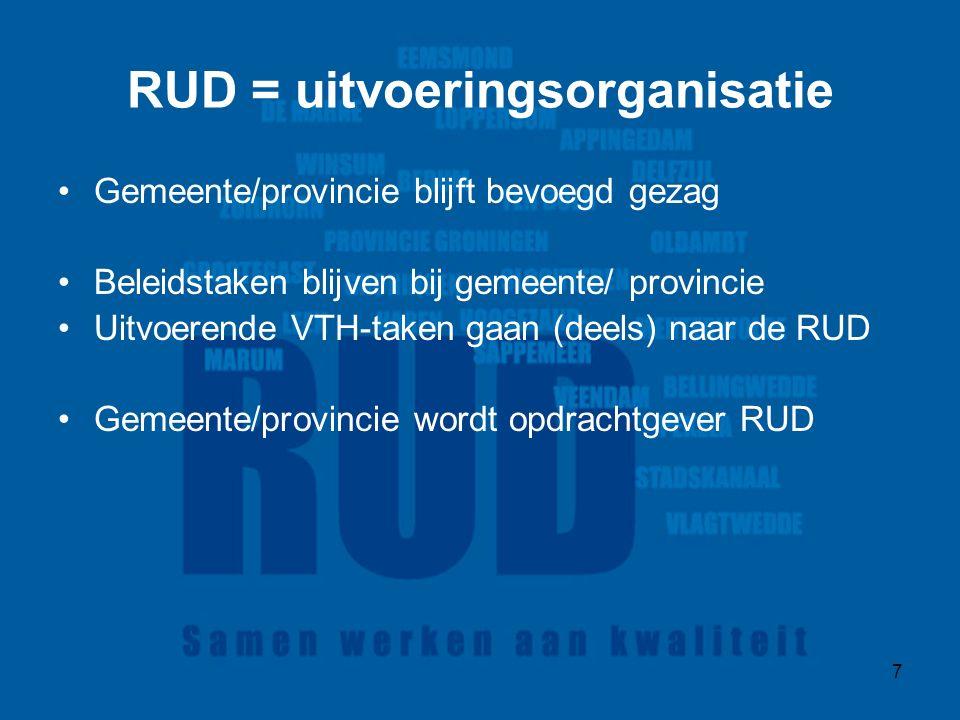 7 RUD = uitvoeringsorganisatie Gemeente/provincie blijft bevoegd gezag Beleidstaken blijven bij gemeente/ provincie Uitvoerende VTH-taken gaan (deels) naar de RUD Gemeente/provincie wordt opdrachtgever RUD