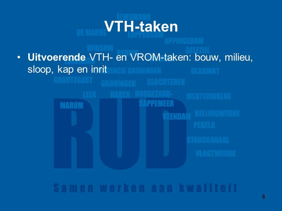 8 VTH-taken Uitvoerende VTH- en VROM-taken: bouw, milieu, sloop, kap en inrit