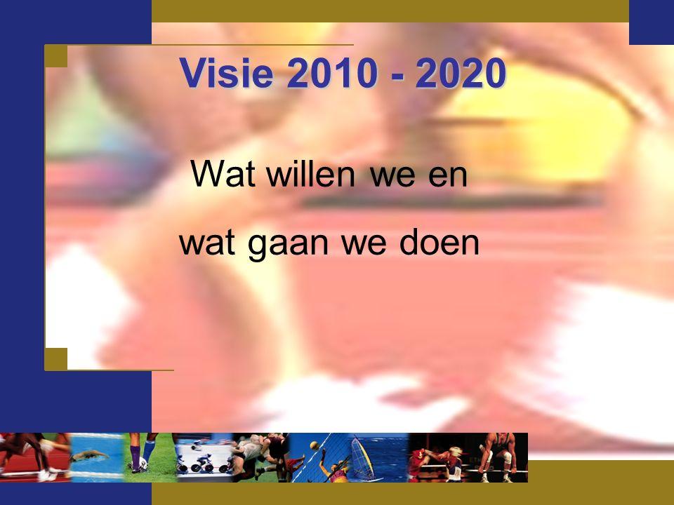 Visie 2010 - 2020 Visie 2010 - 2020 Wat willen we en wat gaan we doen