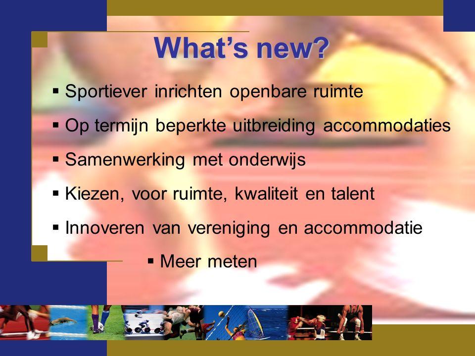 What's new?  Sportiever inrichten openbare ruimte  Op termijn beperkte uitbreiding accommodaties  Samenwerking met onderwijs  Kiezen, voor ruimte,