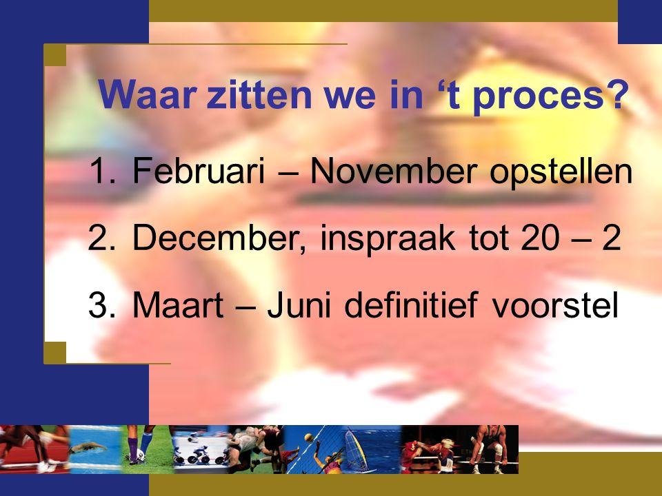 1.Februari – November opstellen 2.December, inspraak tot 20 – 2 3.Maart – Juni definitief voorstel Waar zitten we in 't proces