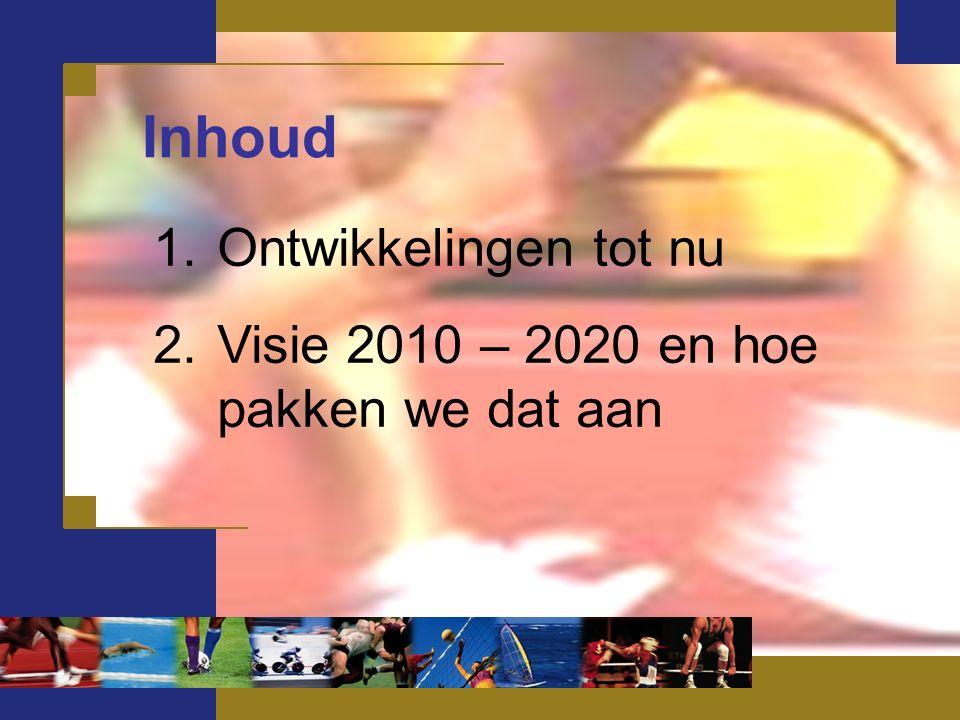 1.Ontwikkelingen tot nu 2.Visie 2010 – 2020 en hoe pakken we dat aan Inhoud
