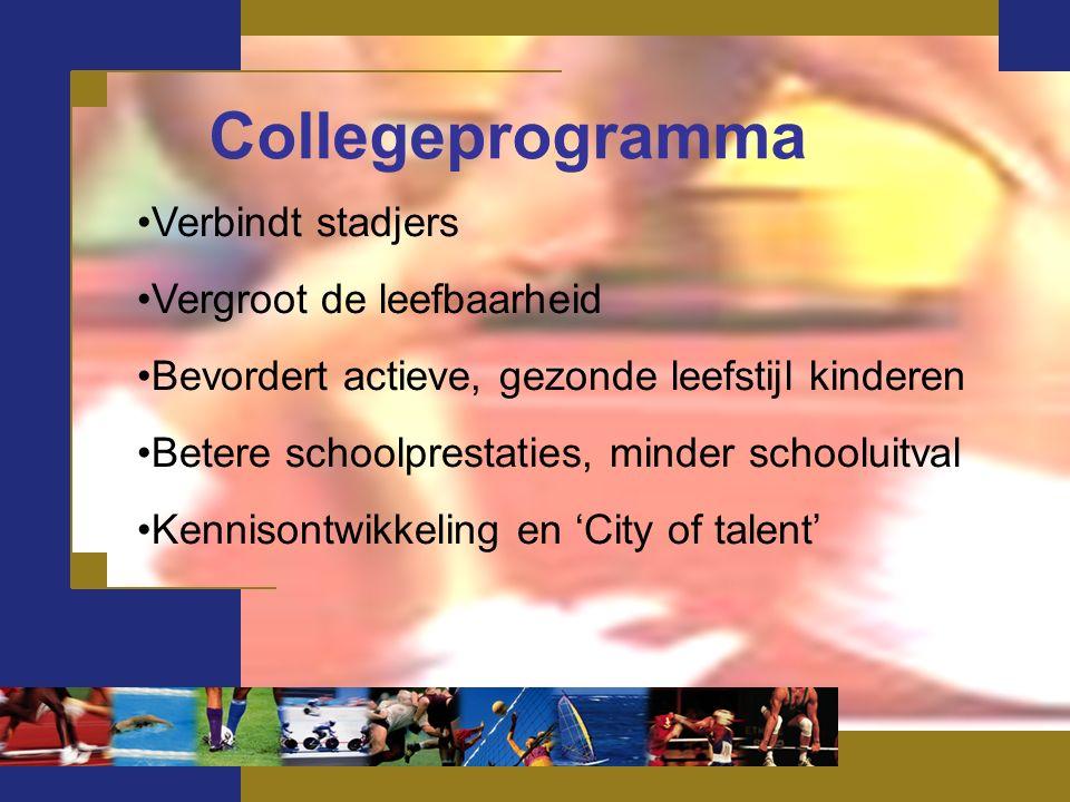 Collegeprogramma Verbindt stadjers Vergroot de leefbaarheid Bevordert actieve, gezonde leefstijl kinderen Betere schoolprestaties, minder schooluitval Kennisontwikkeling en 'City of talent'