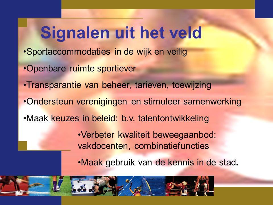 Signalen uit het veld Sportaccommodaties in de wijk en veilig Openbare ruimte sportiever Transparantie van beheer, tarieven, toewijzing Ondersteun verenigingen en stimuleer samenwerking Maak keuzes in beleid: b.v.
