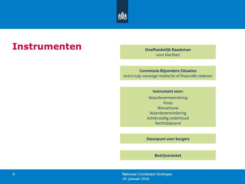 20 januari 2016 Nationaal Coördinator Groningen 8 Instrumenten