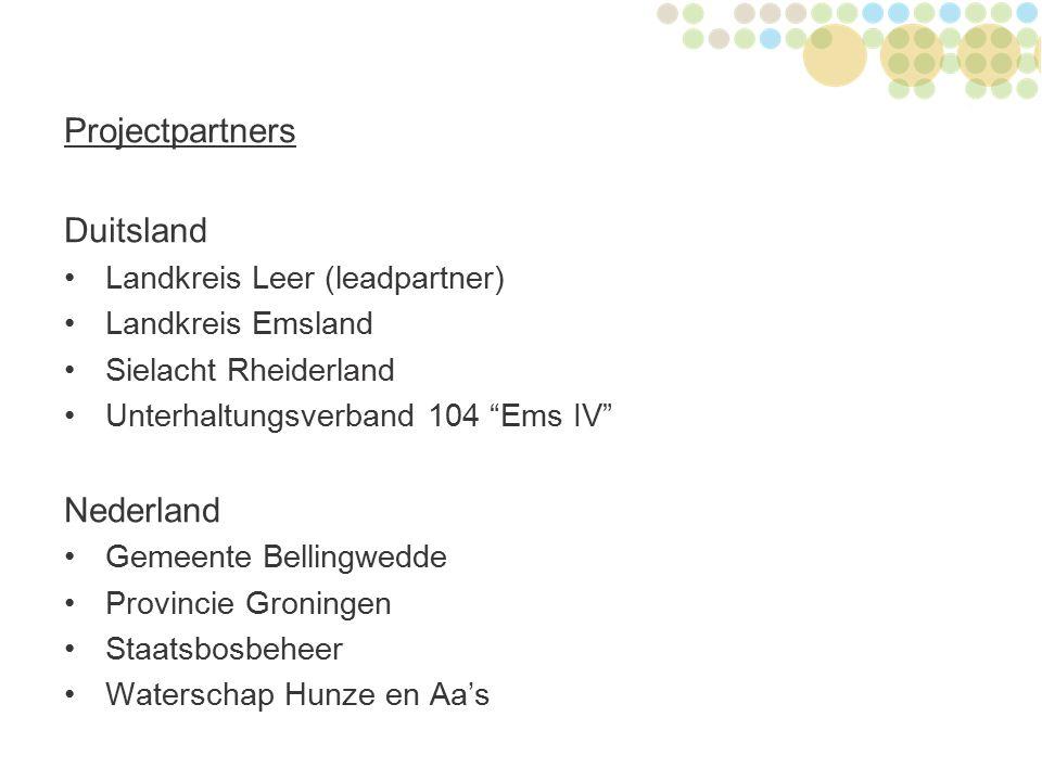 "Projectpartners Duitsland Landkreis Leer (leadpartner) Landkreis Emsland Sielacht Rheiderland Unterhaltungsverband 104 ""Ems IV"" Nederland Gemeente Bel"