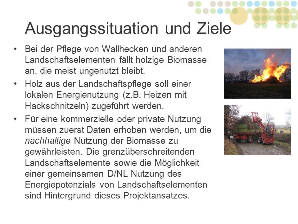 Ausgangssituation und Ziele Bei der Pflege von Wallhecken und anderen Landschaftselementen fällt holzige Biomasse an, die meist ungenutzt bleibt. Holz