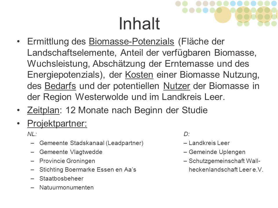 Inhalt Ermittlung des Biomasse-Potenzials (Fläche der Landschaftselemente, Anteil der verfügbaren Biomasse, Wuchsleistung, Abschätzung der Erntemasse
