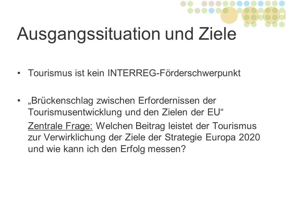 """Ausgangssituation und Ziele Tourismus ist kein INTERREG-Förderschwerpunkt """"Brückenschlag zwischen Erfordernissen der Tourismusentwicklung und den Ziel"""