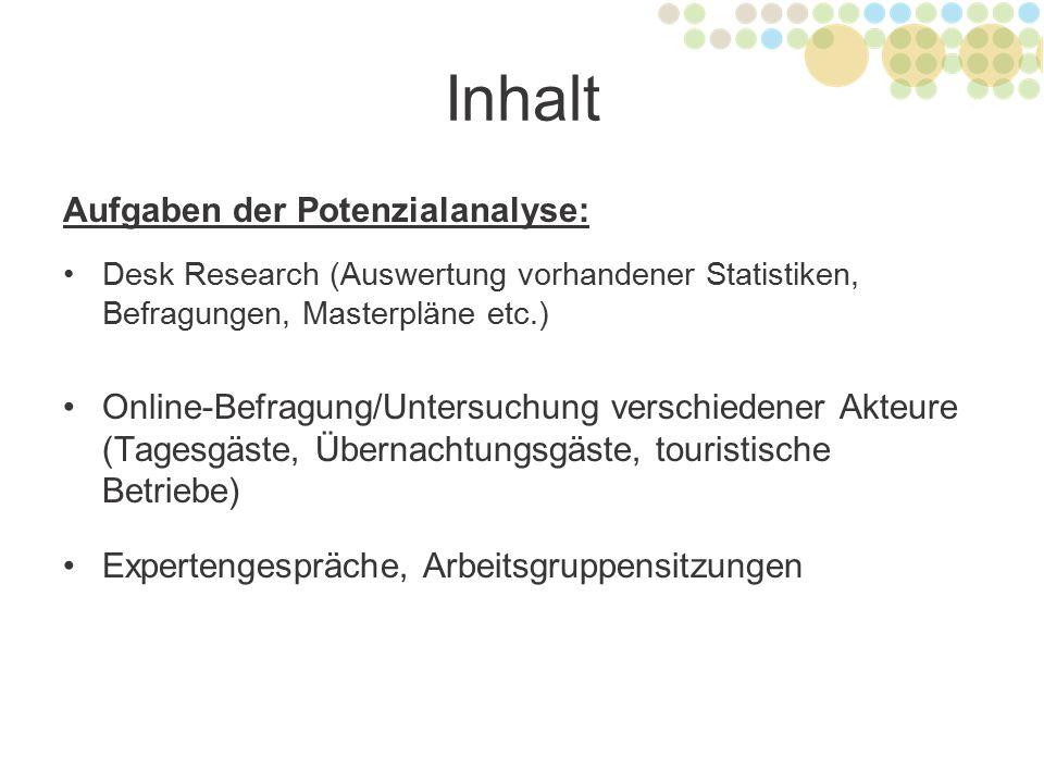 Inhalt Aufgaben der Potenzialanalyse: Desk Research (Auswertung vorhandener Statistiken, Befragungen, Masterpläne etc.) Online-Befragung/Untersuchung