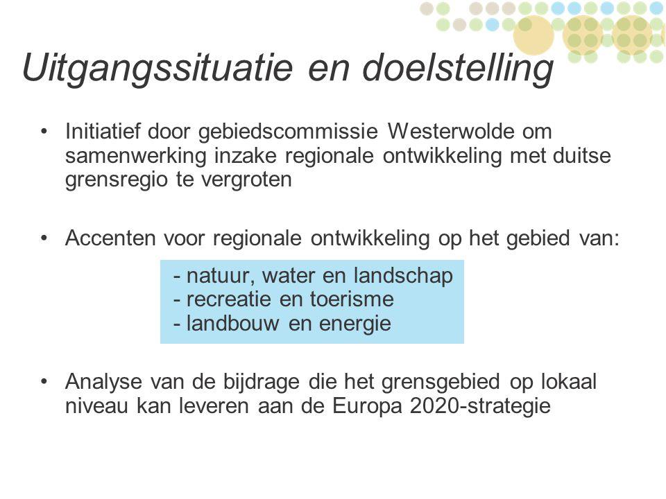 Plan van aanpak Stuurgroep ingesteld met volgende projectpartners: - Landkreis Leer - Landkreis Emsland - Provincie Groningen - Waterschap Hunze en Aa's - Gemeenten Vlagtwedde, Stadskanaal en Bellingwedde - Dienst Landelijk Gebied (leadpartner) Buro MCON ingehuurd voor procesbegeleiding diverse biieenkomsten en themaworkshops 250 deelnemers (DLD en NL) aan diverse workshops