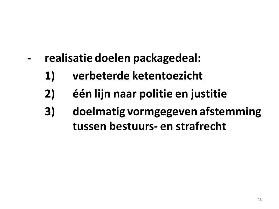 10 -realisatie doelen packagedeal: 1)verbeterde ketentoezicht 2) één lijn naar politie en justitie 3)doelmatig vormgegeven afstemming tussen bestuurs-