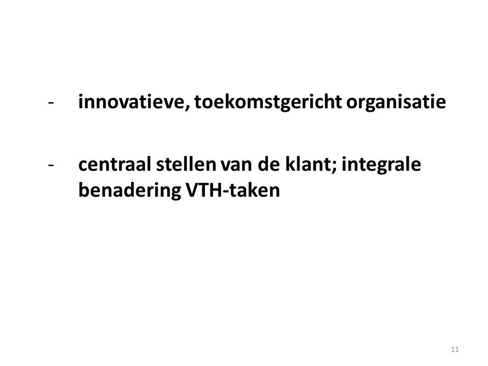 11 -innovatieve, toekomstgericht organisatie -centraal stellen van de klant; integrale benadering VTH-taken