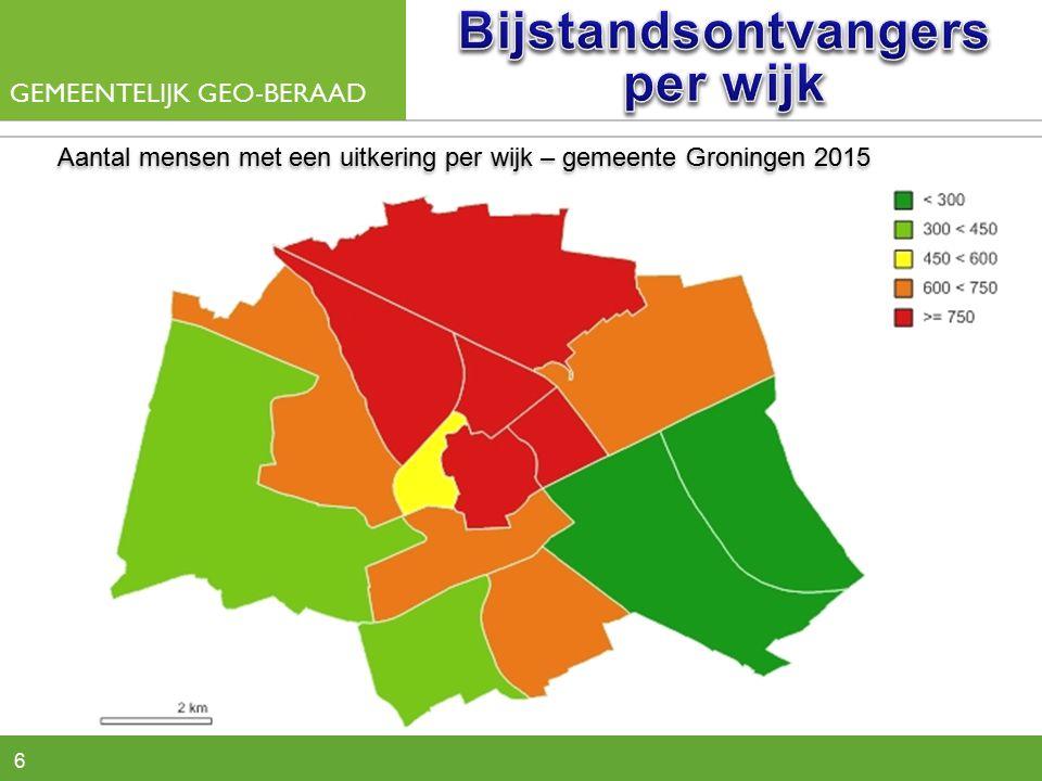 6 Aantal mensen met een uitkering per wijk – gemeente Groningen 2015