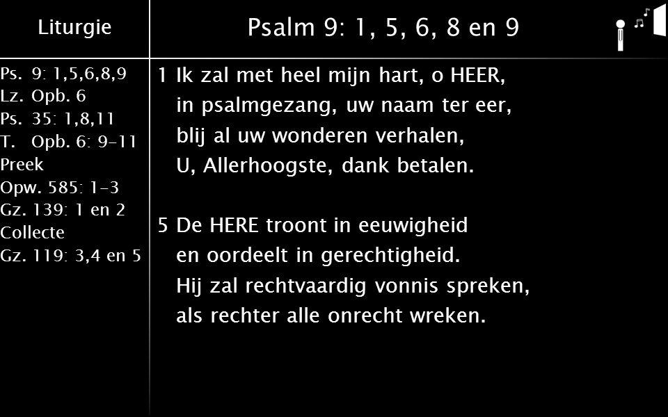 Liturgie Ps.9: 1,5,6,8,9 Lz.Opb. 6 Ps.35: 1,8,11 T.Opb. 6: 9-11 Preek Opw. 585: 1-3 Gz. 139: 1 en 2 Collecte Gz. 119: 3,4 en 5 Psalm 9: 1, 5, 6, 8 en