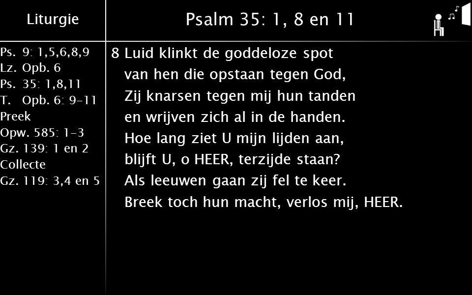 Liturgie Ps.9: 1,5,6,8,9 Lz.Opb. 6 Ps.35: 1,8,11 T.Opb. 6: 9-11 Preek Opw. 585: 1-3 Gz. 139: 1 en 2 Collecte Gz. 119: 3,4 en 5 Psalm 35: 1, 8 en 11 8L