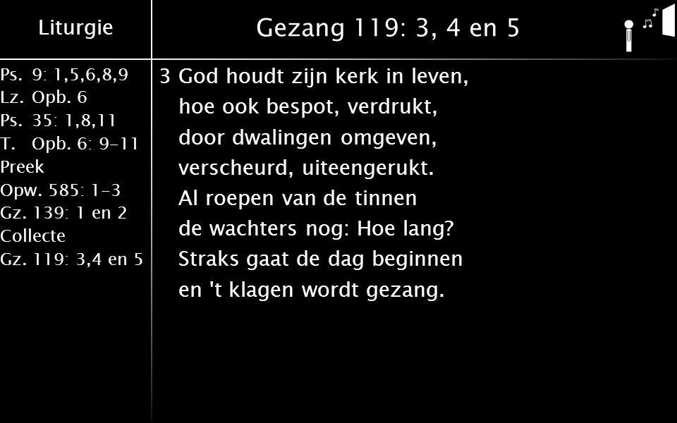Liturgie Ps.9: 1,5,6,8,9 Lz.Opb. 6 Ps.35: 1,8,11 T.Opb. 6: 9-11 Preek Opw. 585: 1-3 Gz. 139: 1 en 2 Collecte Gz. 119: 3,4 en 5 Gezang 119: 3, 4 en 5 3