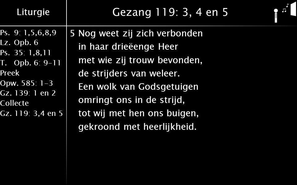 Liturgie Ps.9: 1,5,6,8,9 Lz.Opb. 6 Ps.35: 1,8,11 T.Opb. 6: 9-11 Preek Opw. 585: 1-3 Gz. 139: 1 en 2 Collecte Gz. 119: 3,4 en 5 Gezang 119: 3, 4 en 5 5