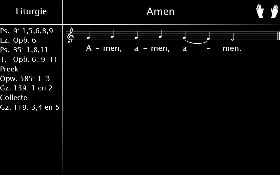 Liturgie Ps.9: 1,5,6,8,9 Lz.Opb. 6 Ps.35: 1,8,11 T.Opb. 6: 9-11 Preek Opw. 585: 1-3 Gz. 139: 1 en 2 Collecte Gz. 119: 3,4 en 5 Amen A-men, a-men, a-me