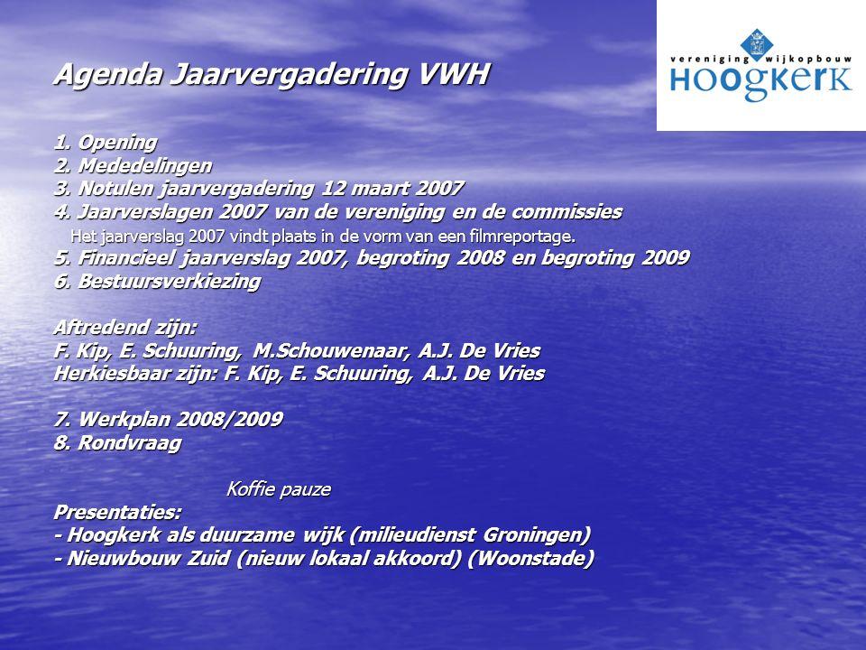 Agenda Jaarvergadering VWH 1. Opening 2. Mededelingen 3. Notulen jaarvergadering 12 maart 2007 4. Jaarverslagen 2007 van de vereniging en de commissie