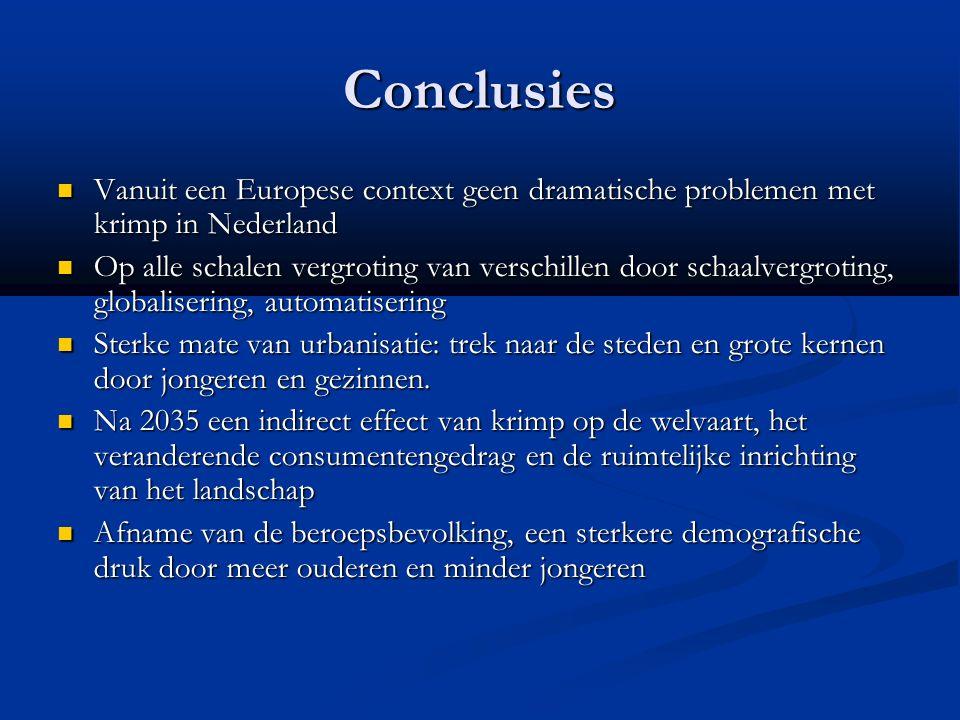 Conclusies Vanuit een Europese context geen dramatische problemen met krimp in Nederland Vanuit een Europese context geen dramatische problemen met kr