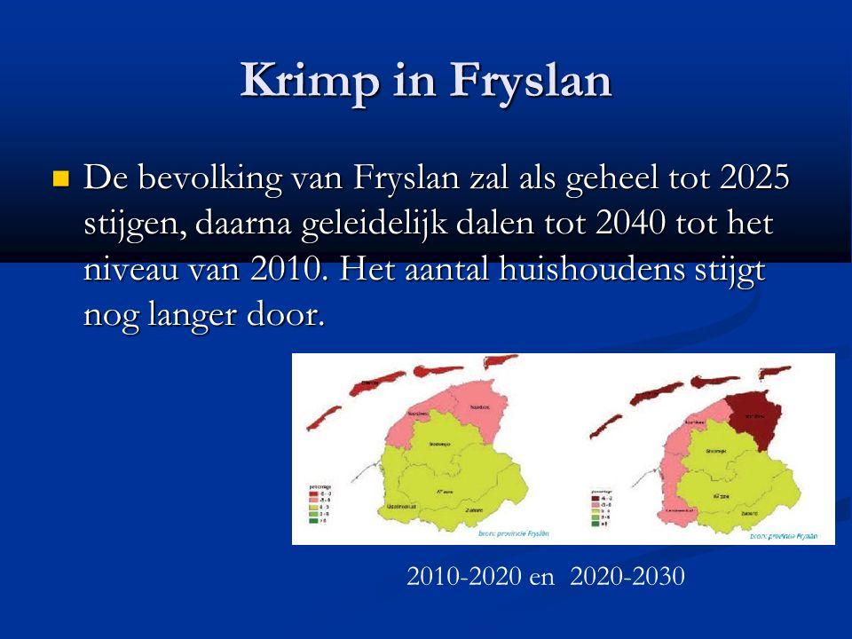 Krimp in Fryslan De bevolking van Fryslan zal als geheel tot 2025 stijgen, daarna geleidelijk dalen tot 2040 tot het niveau van 2010. Het aantal huish