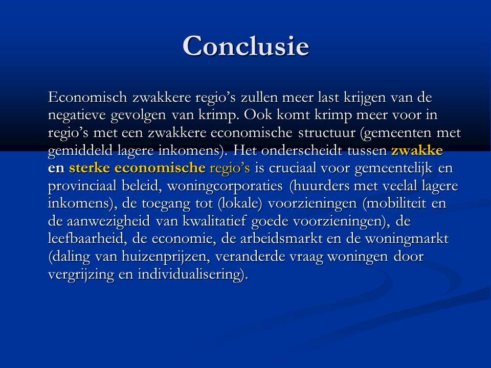 Conclusie Economisch zwakkere regio's zullen meer last krijgen van de negatieve gevolgen van krimp. Ook komt krimp meer voor in regio's met een zwakke