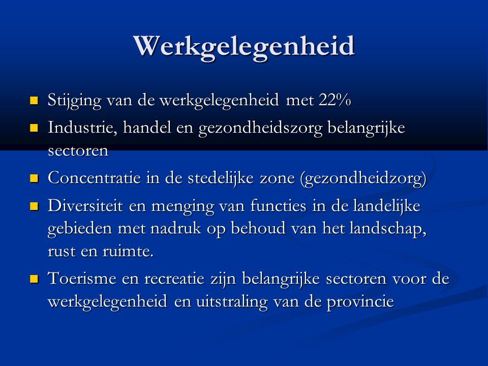Werkgelegenheid Stijging van de werkgelegenheid met 22% Stijging van de werkgelegenheid met 22% Industrie, handel en gezondheidszorg belangrijke sectoren Industrie, handel en gezondheidszorg belangrijke sectoren Concentratie in de stedelijke zone (gezondheidzorg) Concentratie in de stedelijke zone (gezondheidzorg) Diversiteit en menging van functies in de landelijke gebieden met nadruk op behoud van het landschap, rust en ruimte.