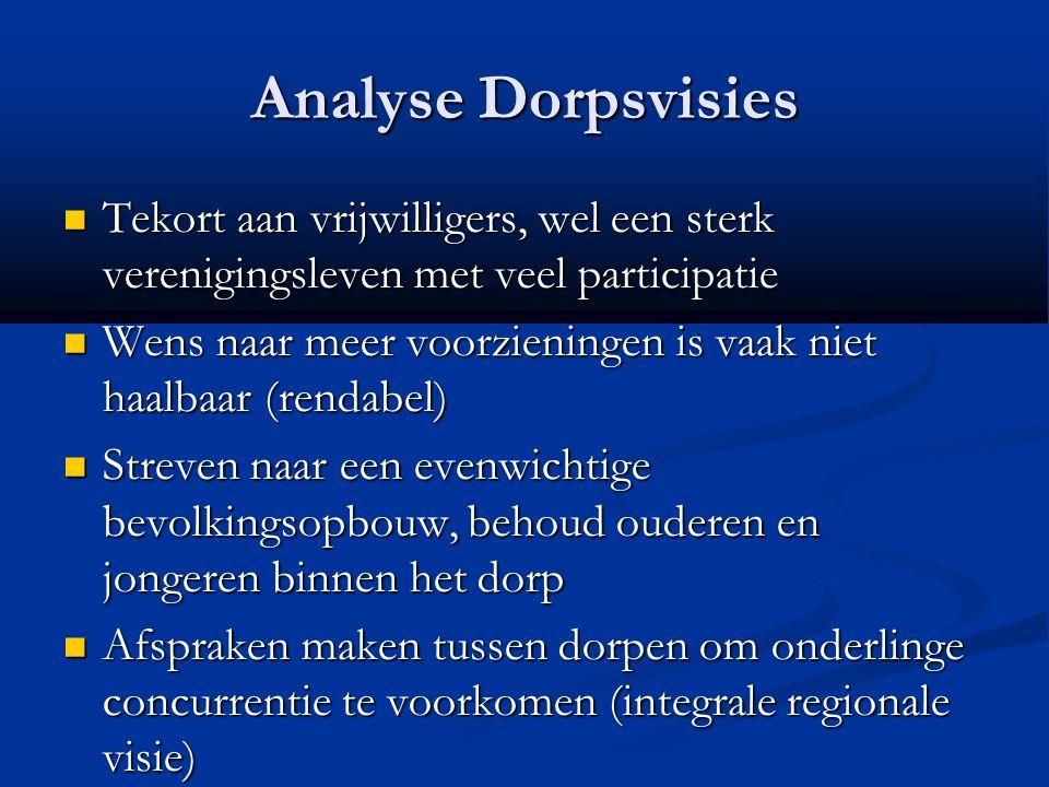 Analyse Dorpsvisies Tekort aan vrijwilligers, wel een sterk verenigingsleven met veel participatie Tekort aan vrijwilligers, wel een sterk verenigings