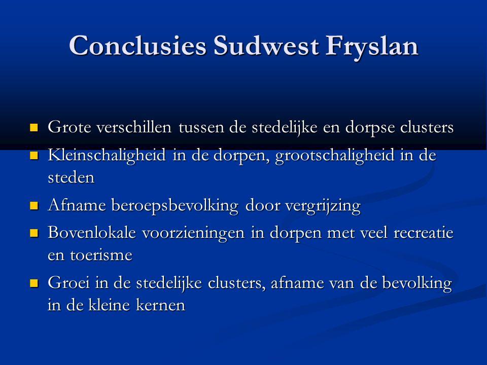 Conclusies Sudwest Fryslan Grote verschillen tussen de stedelijke en dorpse clusters Grote verschillen tussen de stedelijke en dorpse clusters Kleinsc