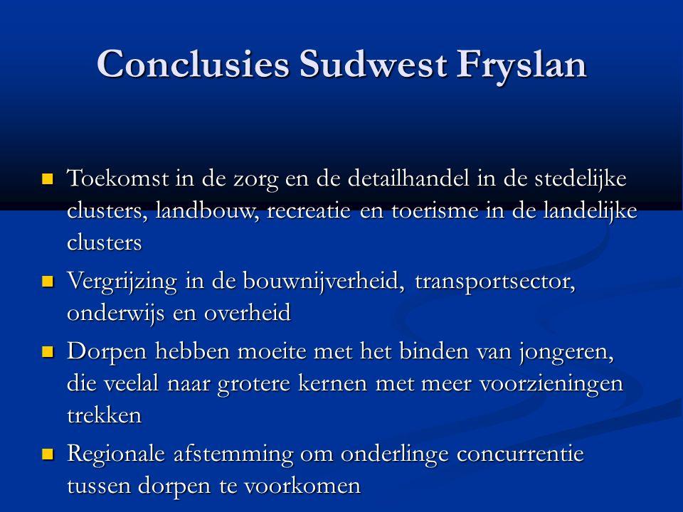 Conclusies Sudwest Fryslan Toekomst in de zorg en de detailhandel in de stedelijke clusters, landbouw, recreatie en toerisme in de landelijke clusters