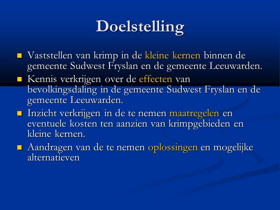 Doelstelling Vaststellen van krimp in de kleine kernen binnen de gemeente Sudwest Fryslan en de gemeente Leeuwarden. Vaststellen van krimp in de klein