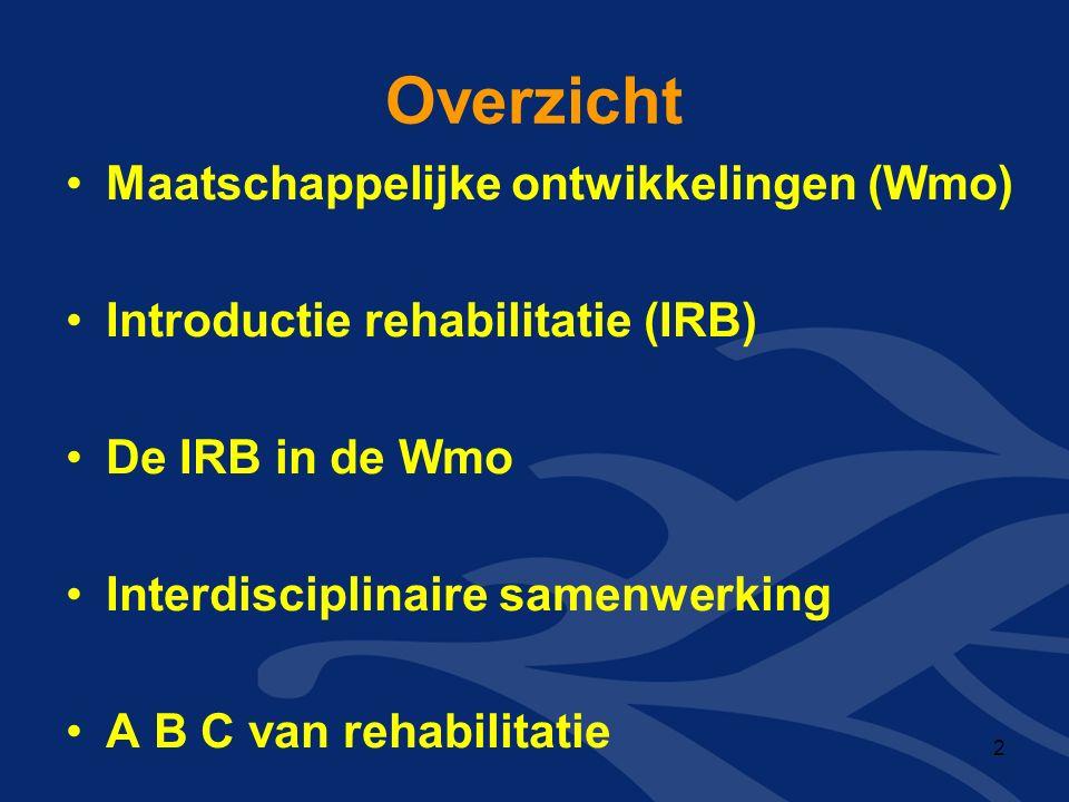 Overzicht Maatschappelijke ontwikkelingen (Wmo) Introductie rehabilitatie (IRB) De IRB in de Wmo Interdisciplinaire samenwerking A B C van rehabilitatie 2