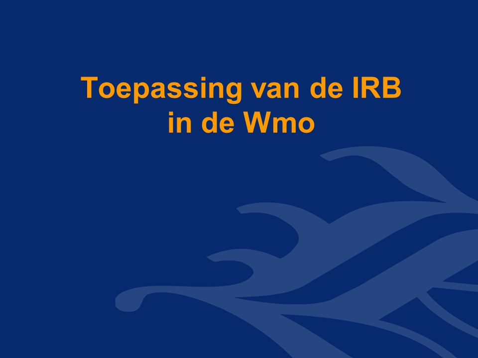 Toepassing van de IRB in de Wmo