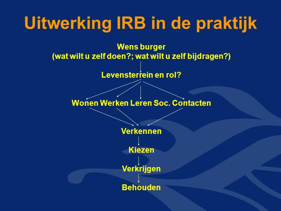 Uitwerking IRB in de praktijk Wens burger (wat wilt u zelf doen ; wat wilt u zelf bijdragen ) Levensterrein en rol.