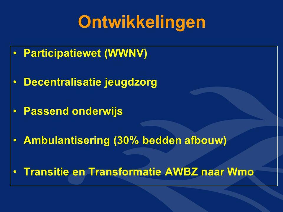 Ontwikkelingen Participatiewet (WWNV) Decentralisatie jeugdzorg Passend onderwijs Ambulantisering (30% bedden afbouw) Transitie en Transformatie AWBZ naar Wmo