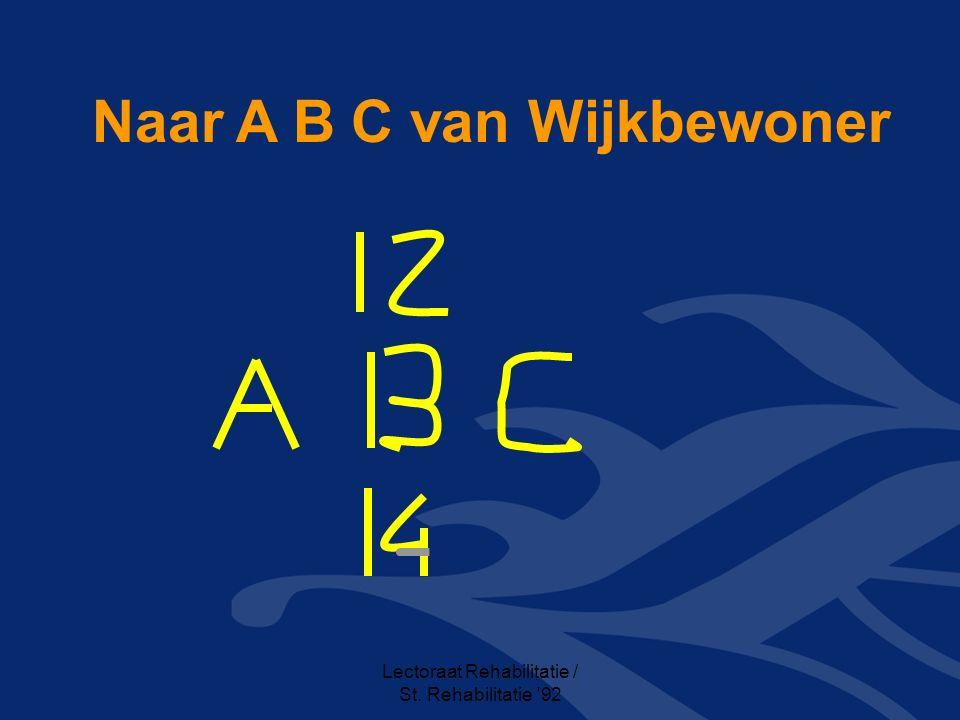 Lectoraat Rehabilitatie / St. Rehabilitatie 92 Naar A B C van Wijkbewoner