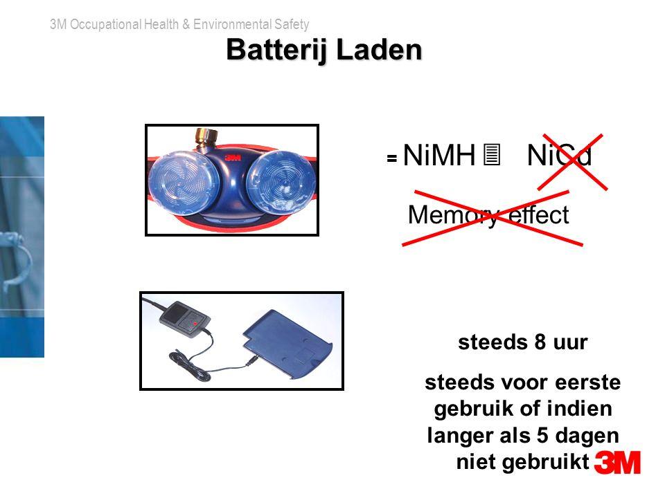3M Occupational Health & Environmental Safety Batterij Laden = NiMH  NiCd Memory effect steeds 8 uur steeds voor eerste gebruik of indien langer als 5 dagen niet gebruikt